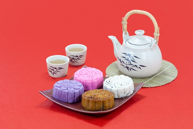Mooncake with tea in mid-autumn festival