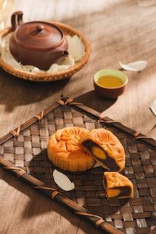 中秋節で伝統的に食べられるベトナムのペストリーである月餅。ケーキのテキストは幸せを意味します。