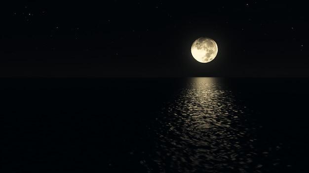 海の上の現実的な3 dイラストの低いばか月と月光の道