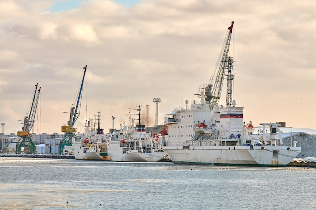 정박 된 화물선과 항구 크레인. 항구,화물 컨테이너 야드, 컨테이너 선박 터미널, 조선소. 비즈니스 및 상업, 물류