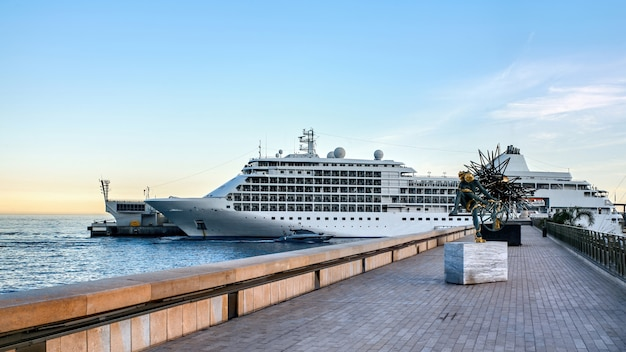Moored ship in the monaco seaport