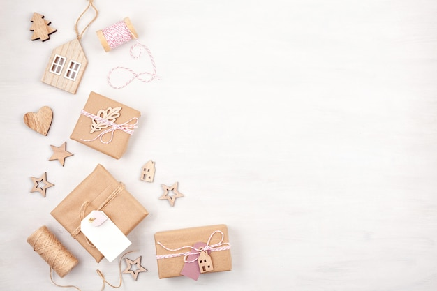 Morden christmas gifts decoration in pastel colors