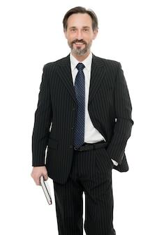 그 어느 때보다 경력에 자신감과 야망이 있습니다. 흰색 절연 행복 사업가입니다. 우아한 사업가 또는 기업가. formalwear에서 성숙한 사업가입니다. 비즈니스 스타일의 전문 사업가입니다.
