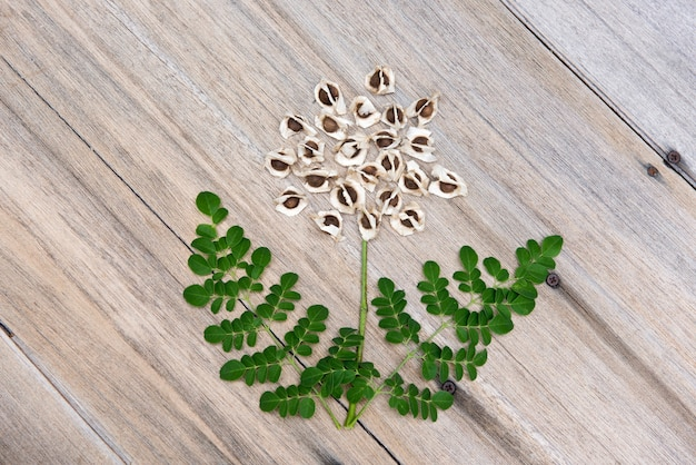 モリンガ緑の葉と古い木の表面の種子。上面図、フラットレイ。