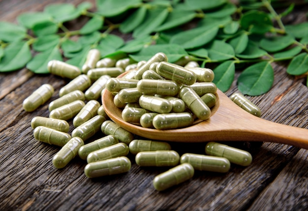 Moringa leaves and capsules (herbs for health)