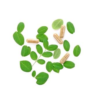 白い背景の上の緑の新鮮な葉を持つモリンガoleiferaカプセル