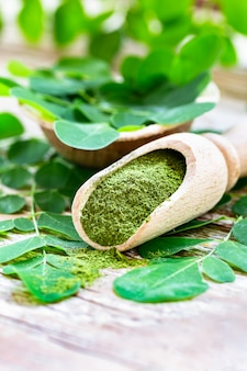 Moringa powder in wooden scoop with original fresh moringa leaves