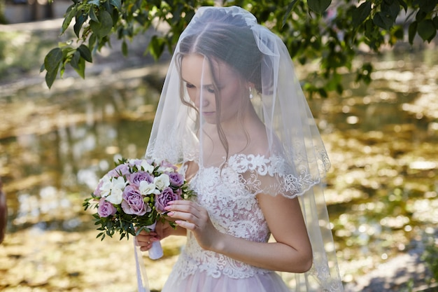 Morning bride woman in wedding dress waiting groom