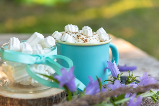 Morning coffee drink with marshmallow slices in nature.