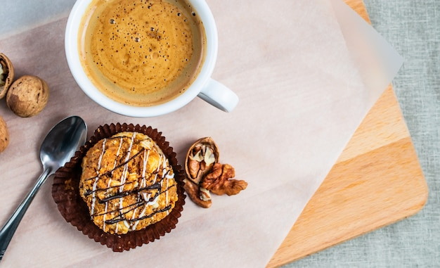 Morning coffee with chocolate dessert