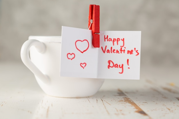 Morning coffee with valentine's day card