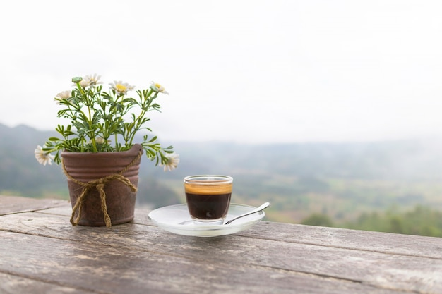 Morning cup of coffee and flower pot on the wooden table with mountain background