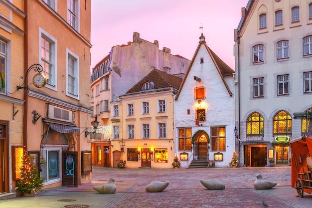 エストニアの日の出のタリンの旧市街の朝の装飾と照らされたクリスマス通り