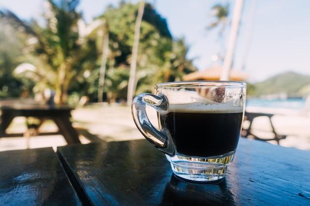 Morning espresso on the beach
