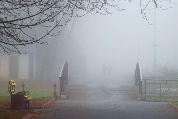 秋の公園の朝の霧。霧の中の視界不良