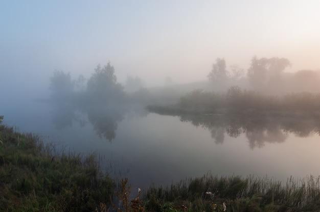 Утренний туман над озером утром. красивый летний пейзаж