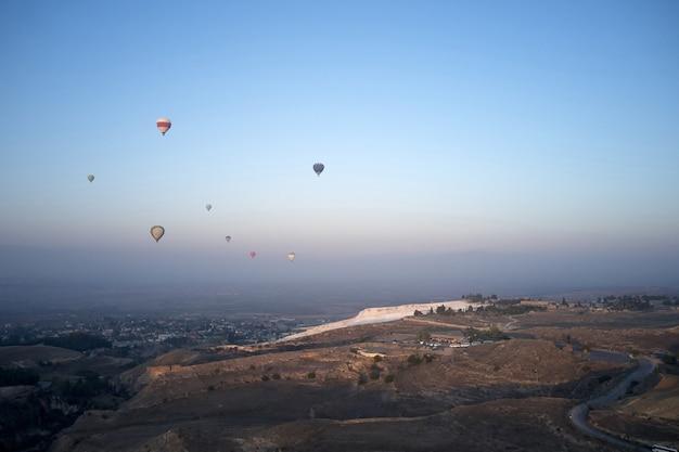 Morning hot air balloons flight travel to turkey