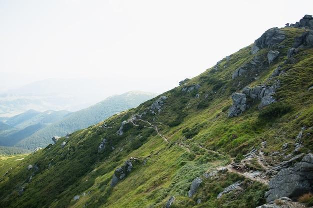 緑の山々の朝の風景。ハイキング