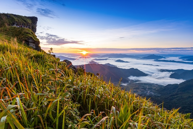 Morning light on the phu chee fah viewpoint, chiang rai, thailand