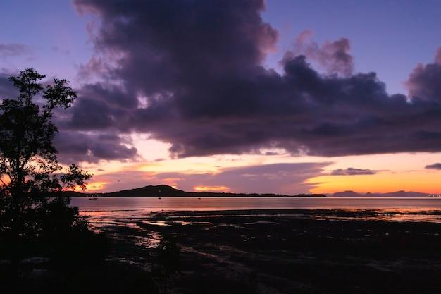 暗い夜明けの空と朝の干潮の海。