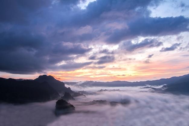 Утренний туман покрывает гору перед восходом солнца в пху-лангка, пхаяо, таиланд