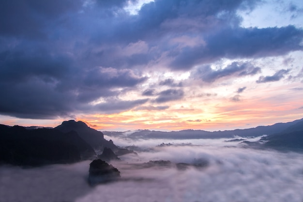 Morning mist cover mountain before sunrise at phu lang ka, phayao, thailand