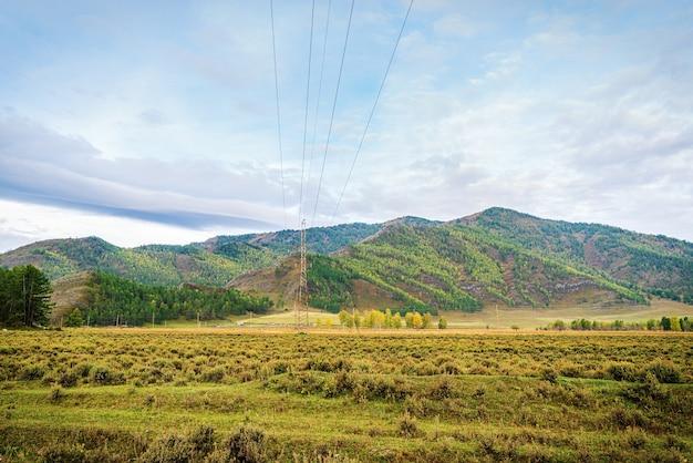 Morning mountain landscape. autumn in the karakol valley, mountain altai, russia
