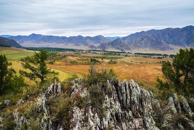 아침 산 풍경입니다. 러시아, 알타이 산맥, ongudaysky 지구, uch-enmek 자연 공원