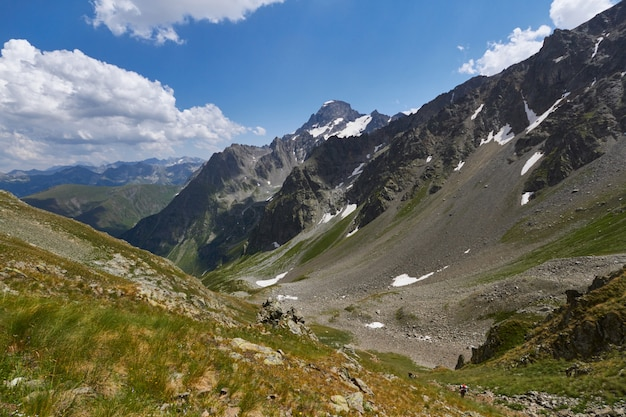 Morning in the mountains, a fabulous landscape of the caucasus mountains
