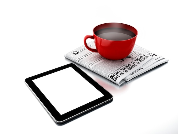 Morning news. coffee cup with newspaper and tablet pc on white isolated background