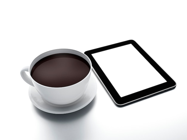 Morning news. coffee cup with tablet pc on white isolated background