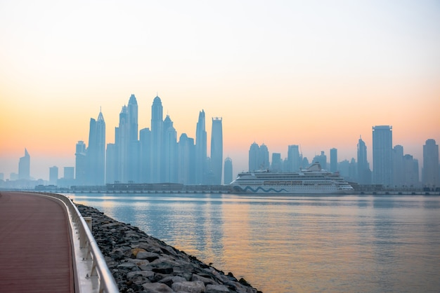 Morning panorama of dubai marina at sunrise