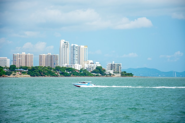 Morning in pattaya, view of sea point, thailand.