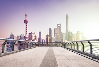 Morning pudong city business cityscape