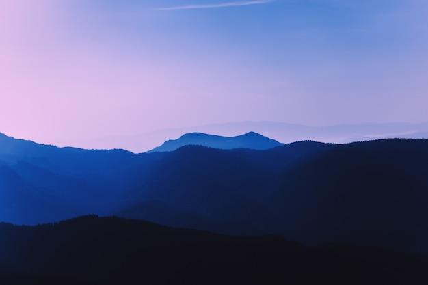 Утренняя пурпурная дымка в горах. хвойный лес. красивый пейзаж