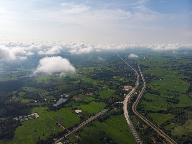 朝の蒸気雲の霧または霧