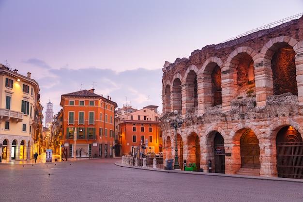 Morning in the streets of verona near the coliseum arena di verona. italy.