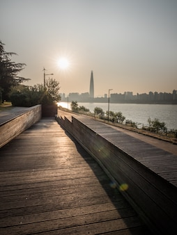 Morning sun in seoul, riverside in big city