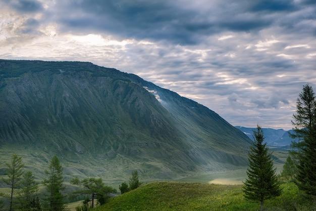 緑の山々の朝の太陽光線