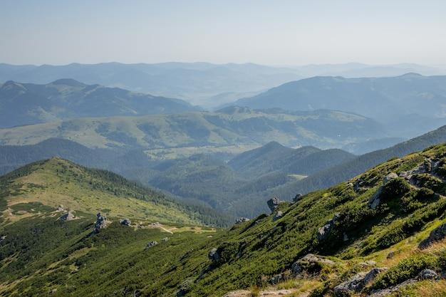 朝の晴れた日は山の風景です。カルパティア、ウクライナ、ヨーロッパ。美容の世界
