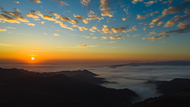 The morning time sea fog on the mountain beautiful landmark chiang rai thailand