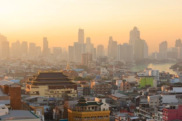 Morning time yaowarach or chinatown area in bangkok
