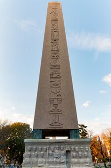 Morning view on egyptian obelisk in hippodrome of constantinople in sultan ahmet square