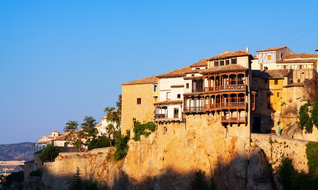 Morning view of hanging houses in cuenca