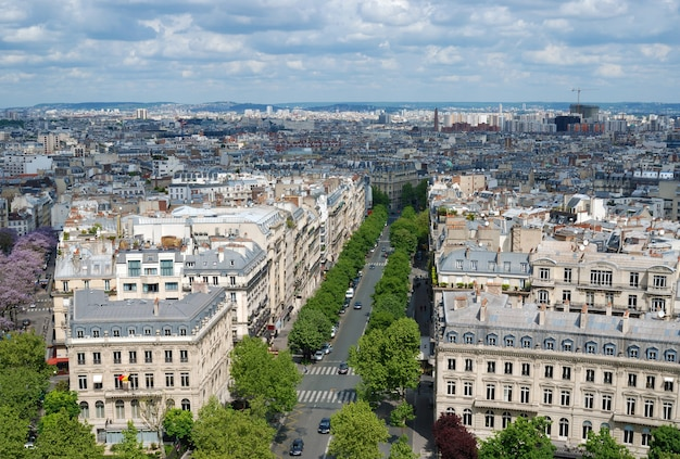Morning view at paris from arc de triomphe