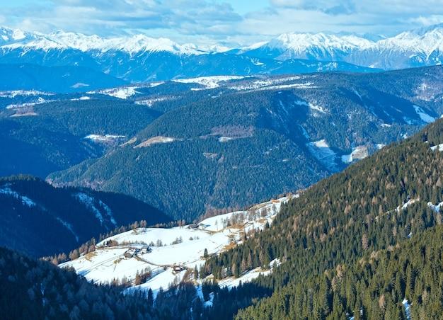 아침 겨울 산 풍경 (rittner 또는 ritten horn, 이탈리아)