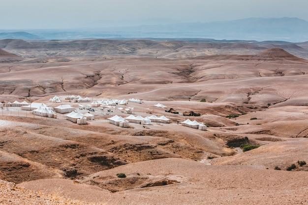 モロッコの砂漠のキャンプ場