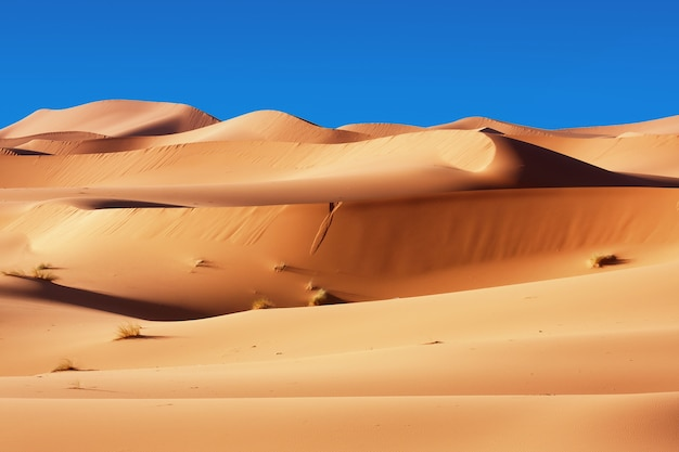 Moroccan desert dunes background and blue sky