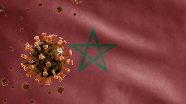 모로코 깃발 흔들며 및 코로나 바이러스 2019 ncov 개념
