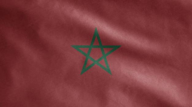 바람에 물결 치는 모로코 국기. 모로코 배너 부는 부드럽고 부드러운 실크.